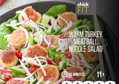 Warm Turkey Meatball Noodle Salad
