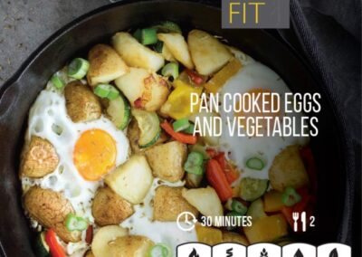 Pan cooked eggs and vegetables