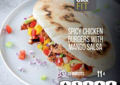 Spicy chicken burgers with mango salsa